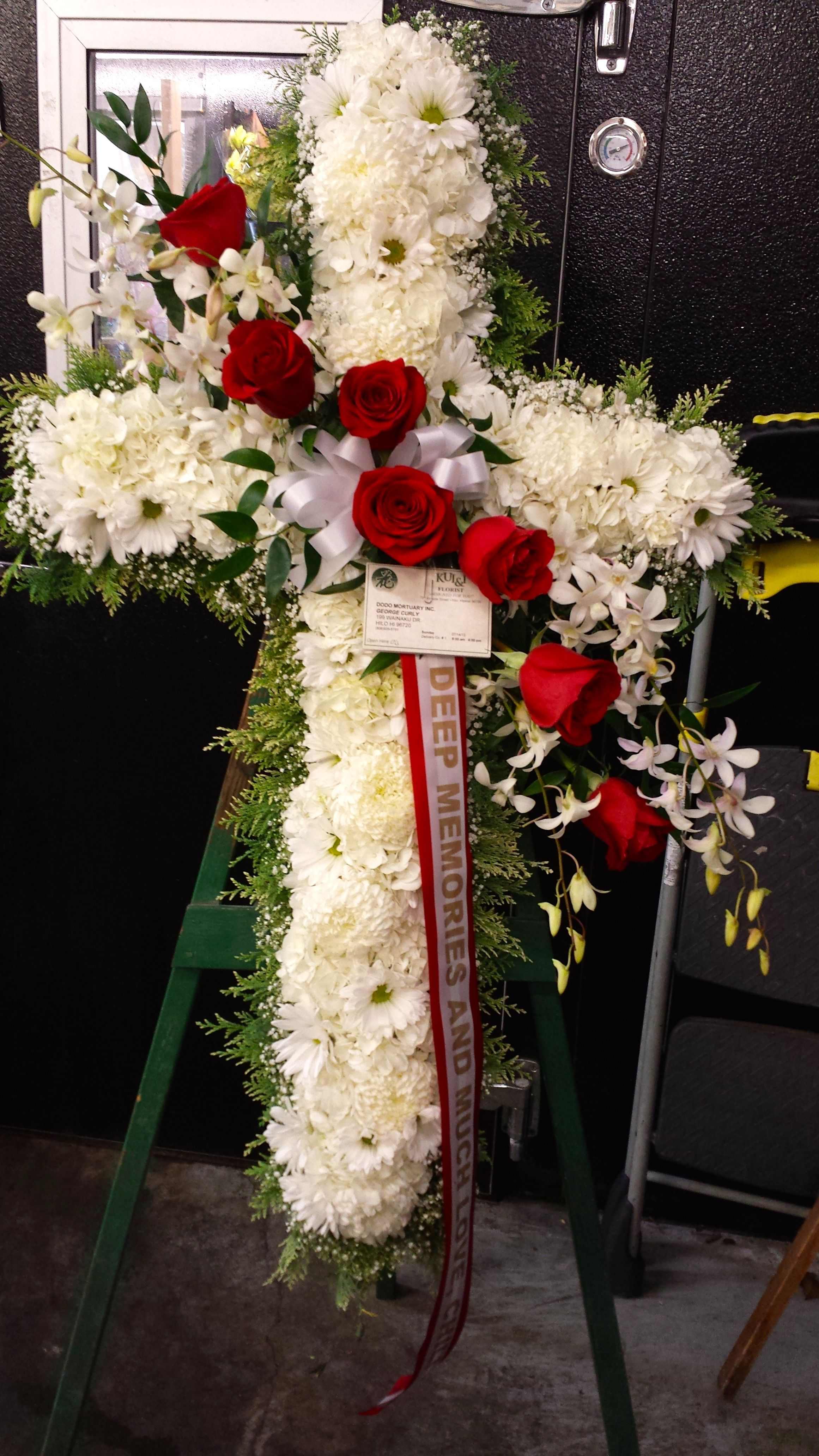 White cross with red roses standing spray sympathy flower white cross with red roses standing spray izmirmasajfo