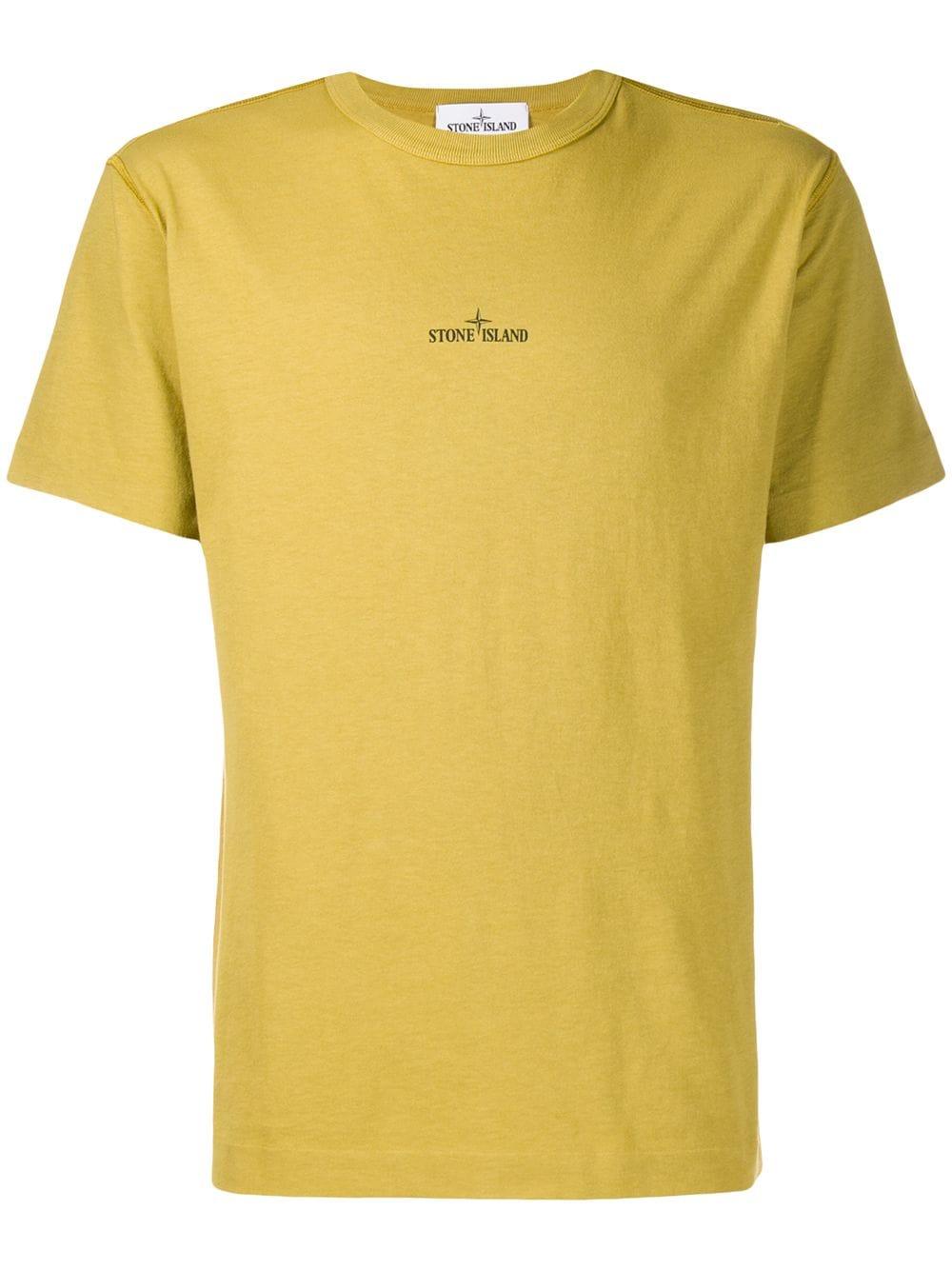 Stone Island Logo Print T Shirt Green