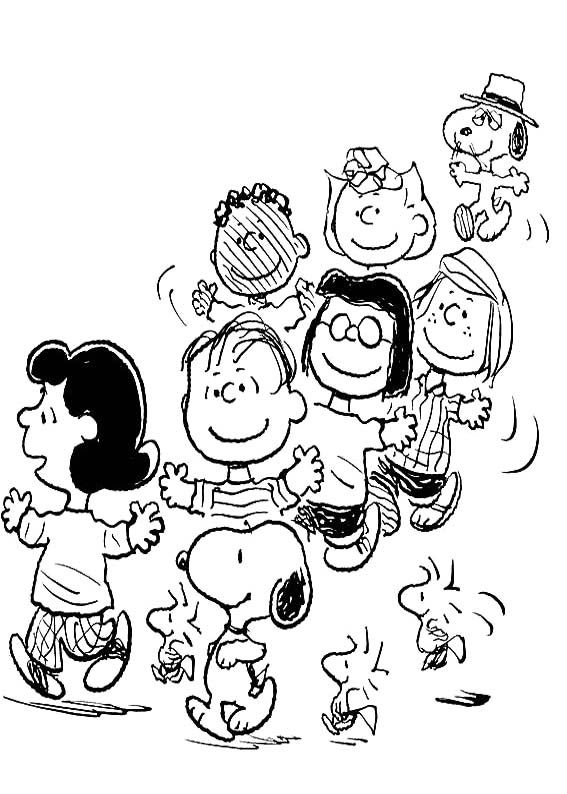 snoopy and friends coloring page
