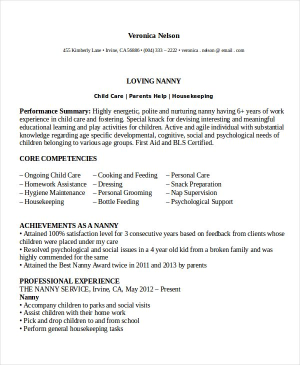 sample cover letter for nanny position livecareer template - nanny resumes
