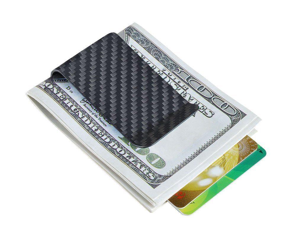 Matte Carbon Fiber Money Clip Slim Wallet Business Card Credit Card Holder