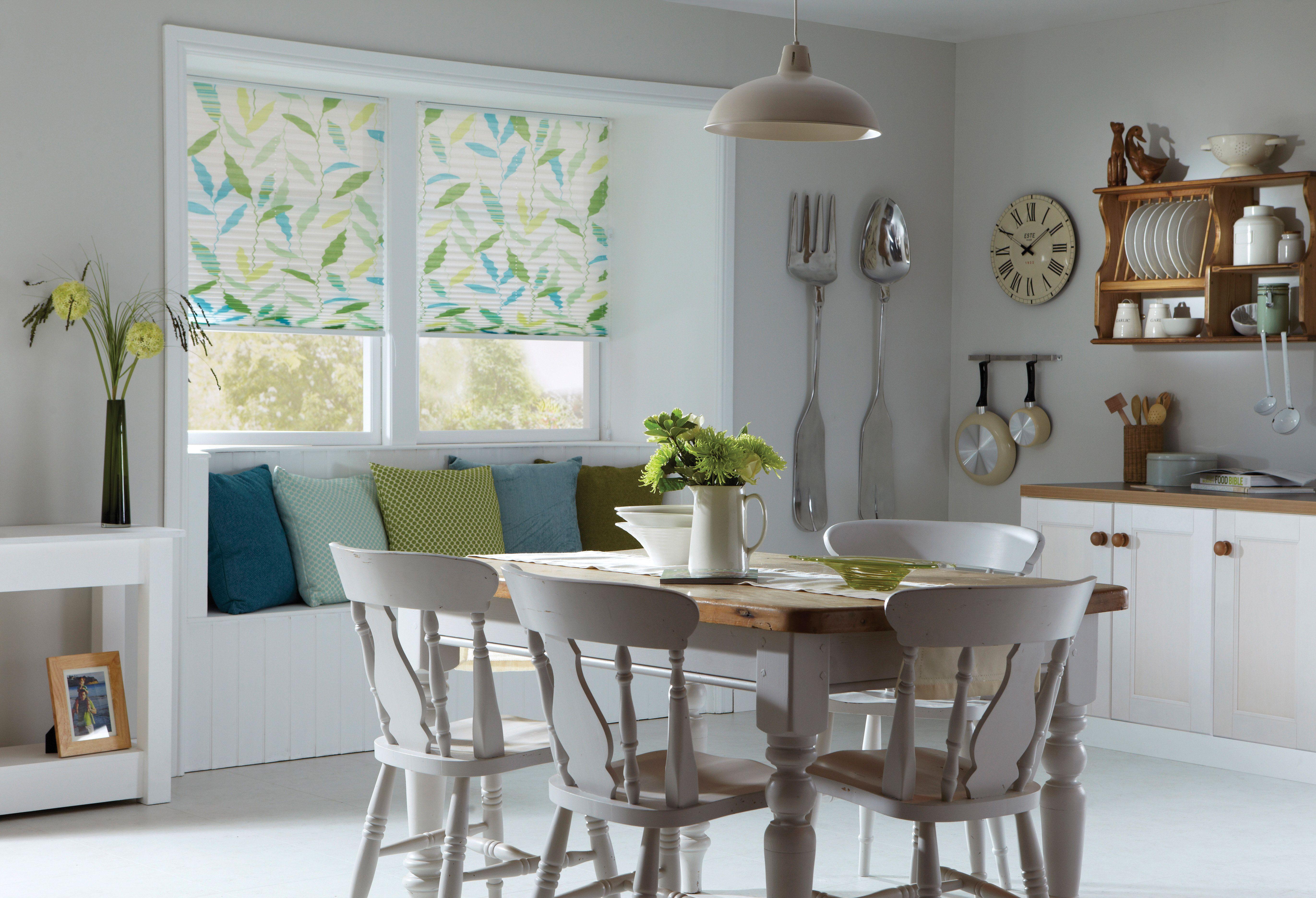 Kitchen window kitchen blinds  apollo pleated leaf print blinds spring home decor kitchen blinds