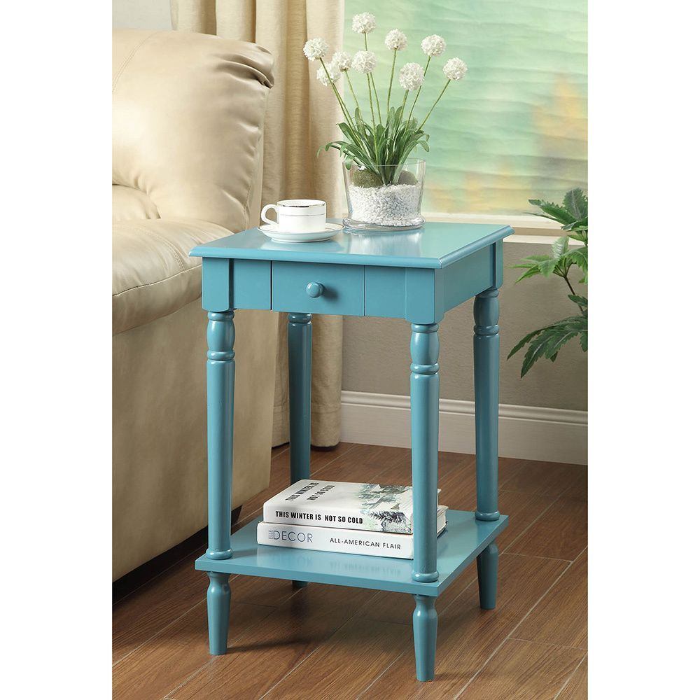Convenience Concepts French Country End Table (Blue)   Storage ...