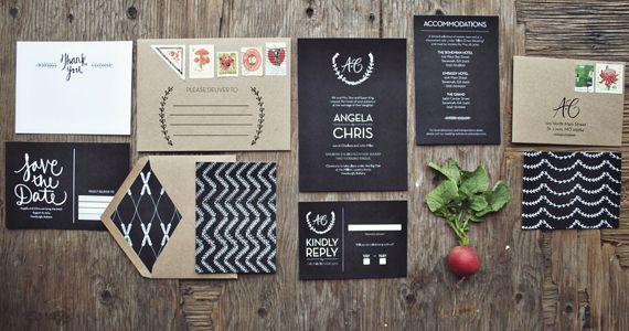 White on Black Wedding Invitations To Whet Your Appetite « Felt