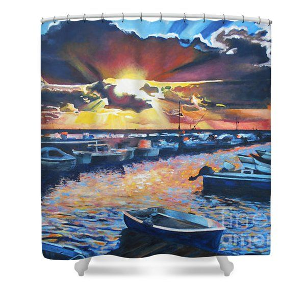 Shower Curtains - Tramonto sul Porto di Acquamorta Shower Curtain by Kevin J Cooper Artwork