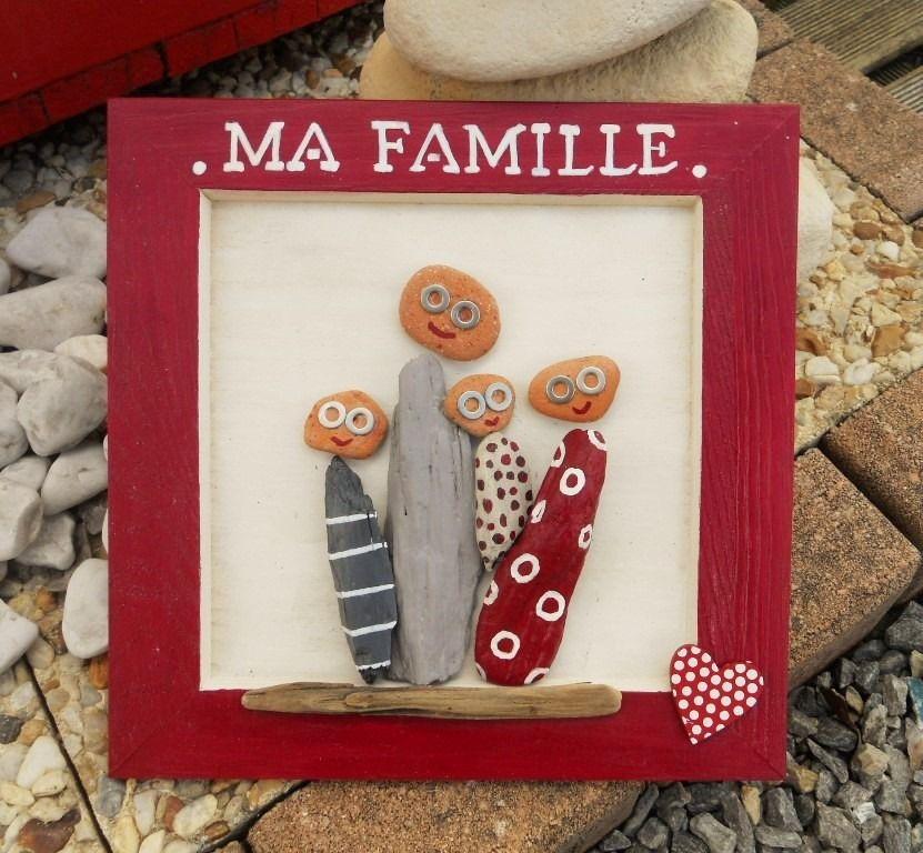 Tableau en bois et bois flott ma famille for Tableau avec bois flotte