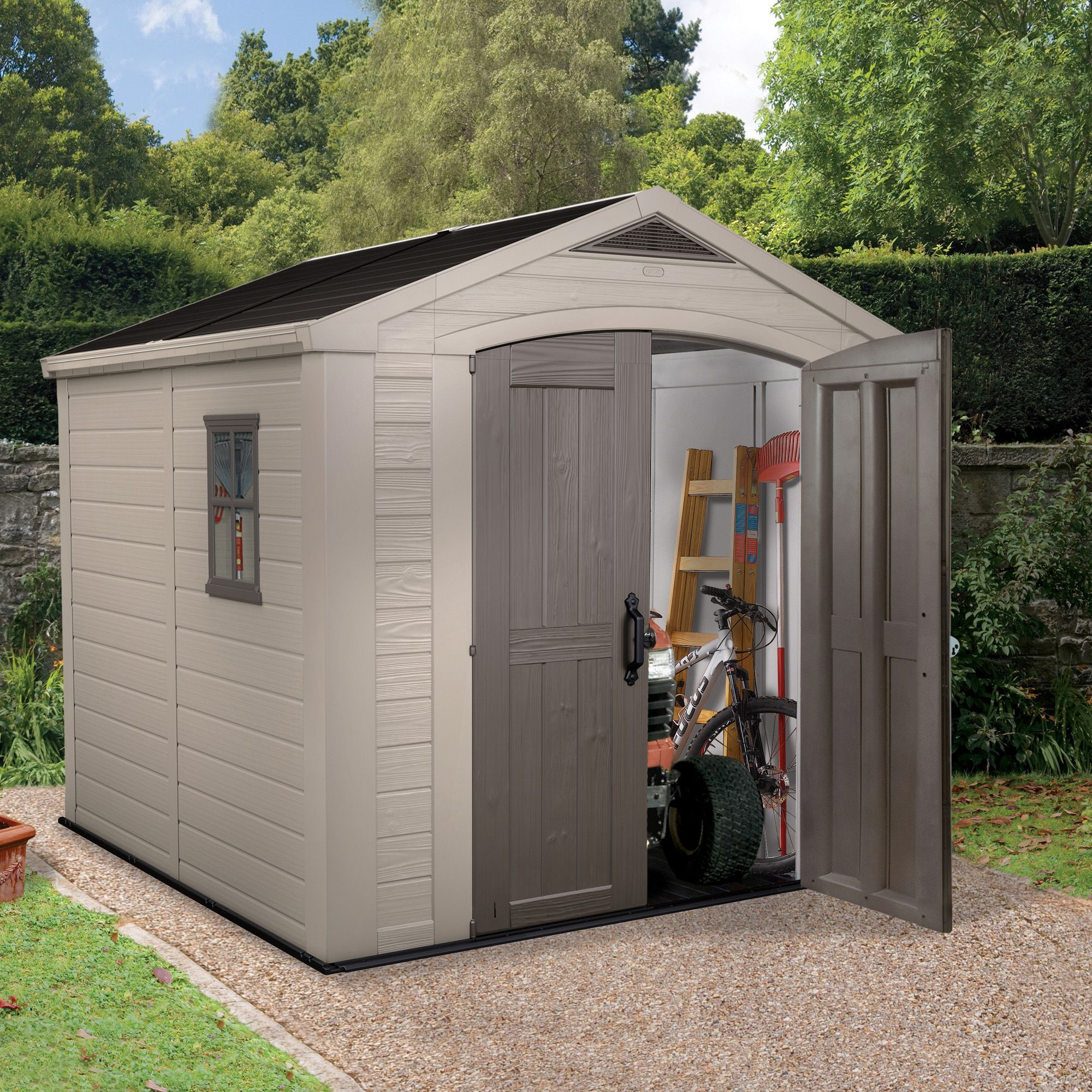 8x8 Factor Apex Roof Plastic Shedbeige Brown Plastic Sheds Shed Shed Plans