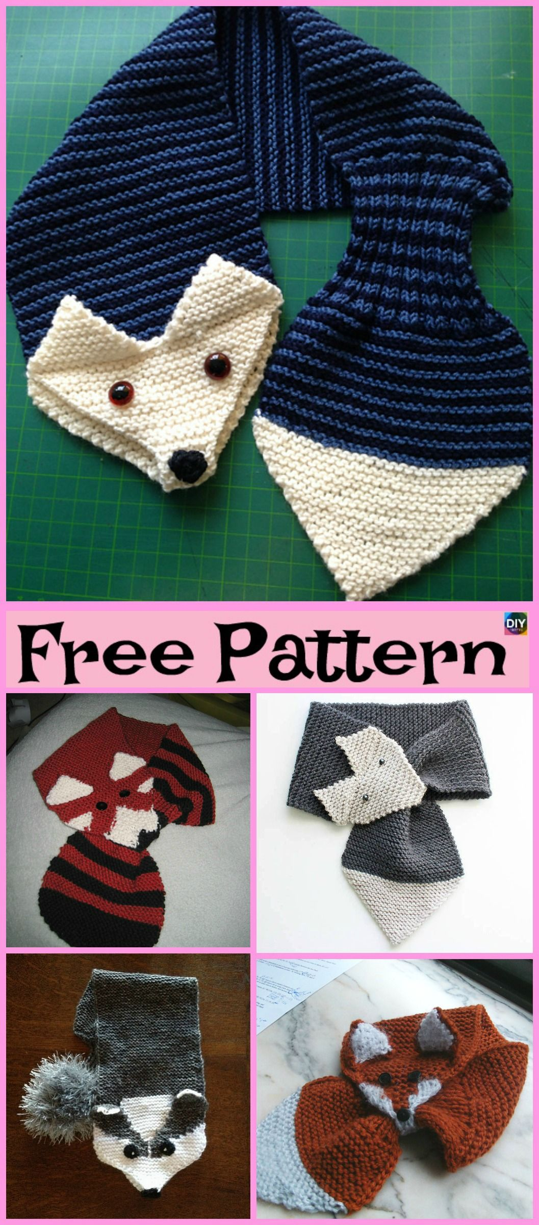 5 Cutest Knitting Fox Scarf Free Patterns #knittingpatternsfree