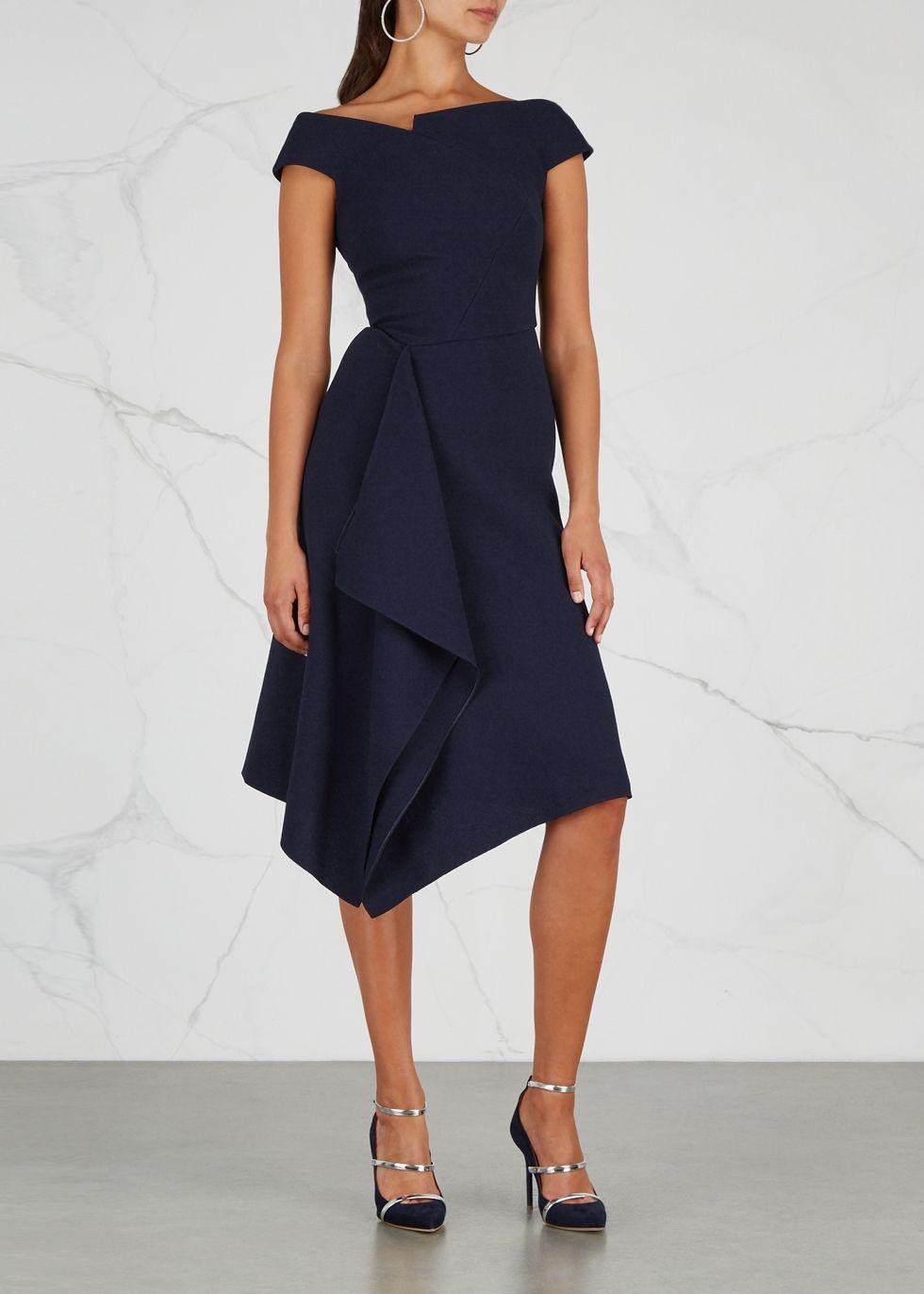Barwick Navy Draped Wool Dress Roland Mouret Navy Lace Midi Dress Black Lace Midi Dress Stretch Knit Dress [ 1372 x 980 Pixel ]