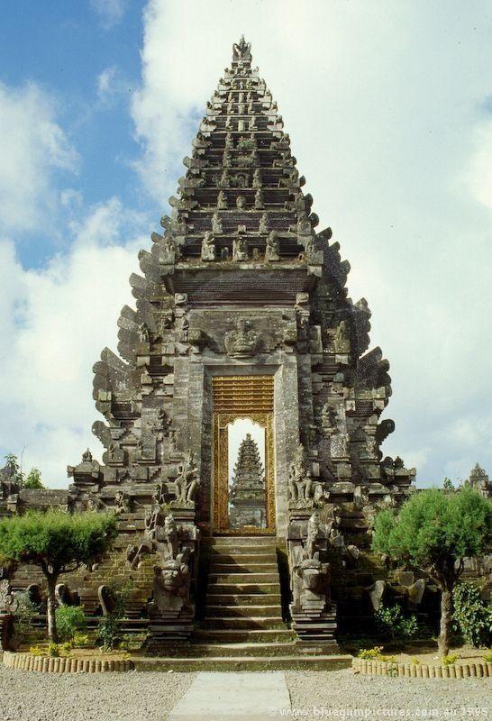 Pagodes of the Pura Ulun Danu Batur temple at Kintamani on Bali, Indonesia