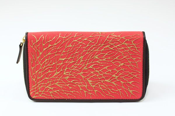 $80 Coral Golden Roots Clutch Wallet by Pittura Arte  Shop here: http://www.trendcy.com/coral-golden-roots-clutch-wallet/
