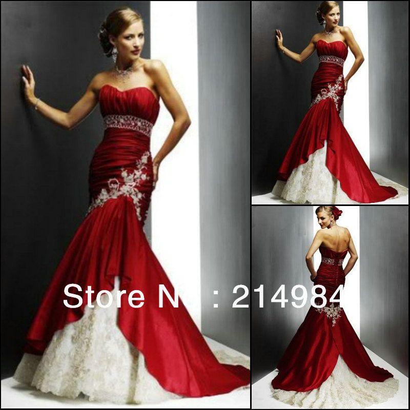 vestidos de novia rojo y negro calidad sirena de novia de | Vestidos ...