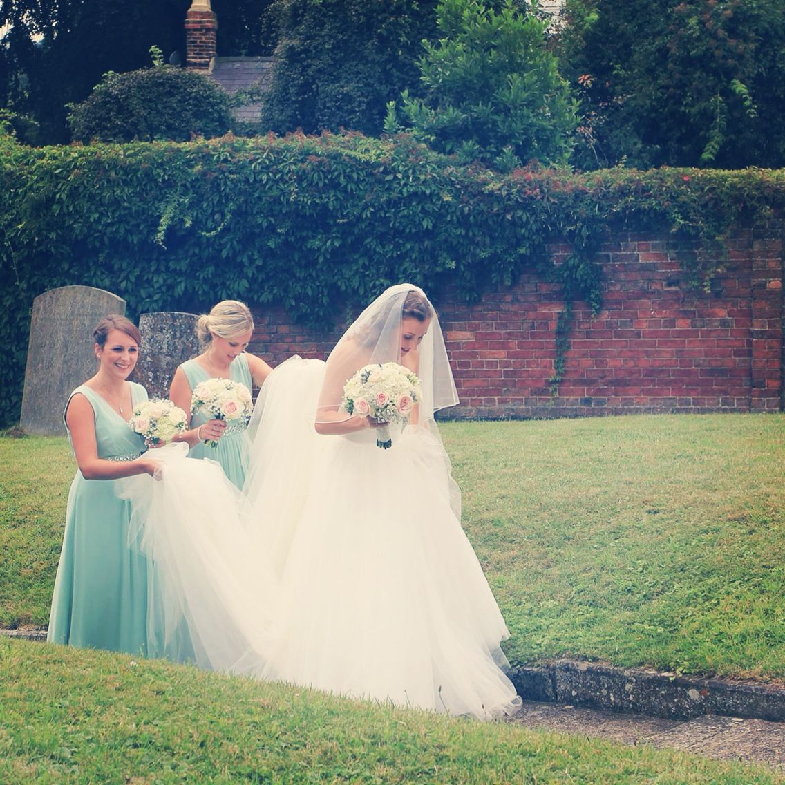 Maggie sottero taleigha wedding dress coast mint green bridesmaid