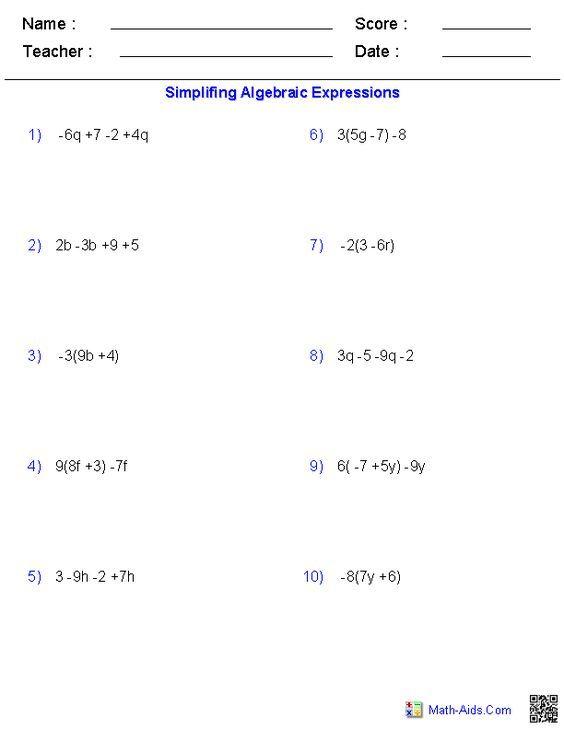 Free Pre Algebra Worksheets Algebra Worksheets Algebraic Expressions Pre Algebra Worksheets