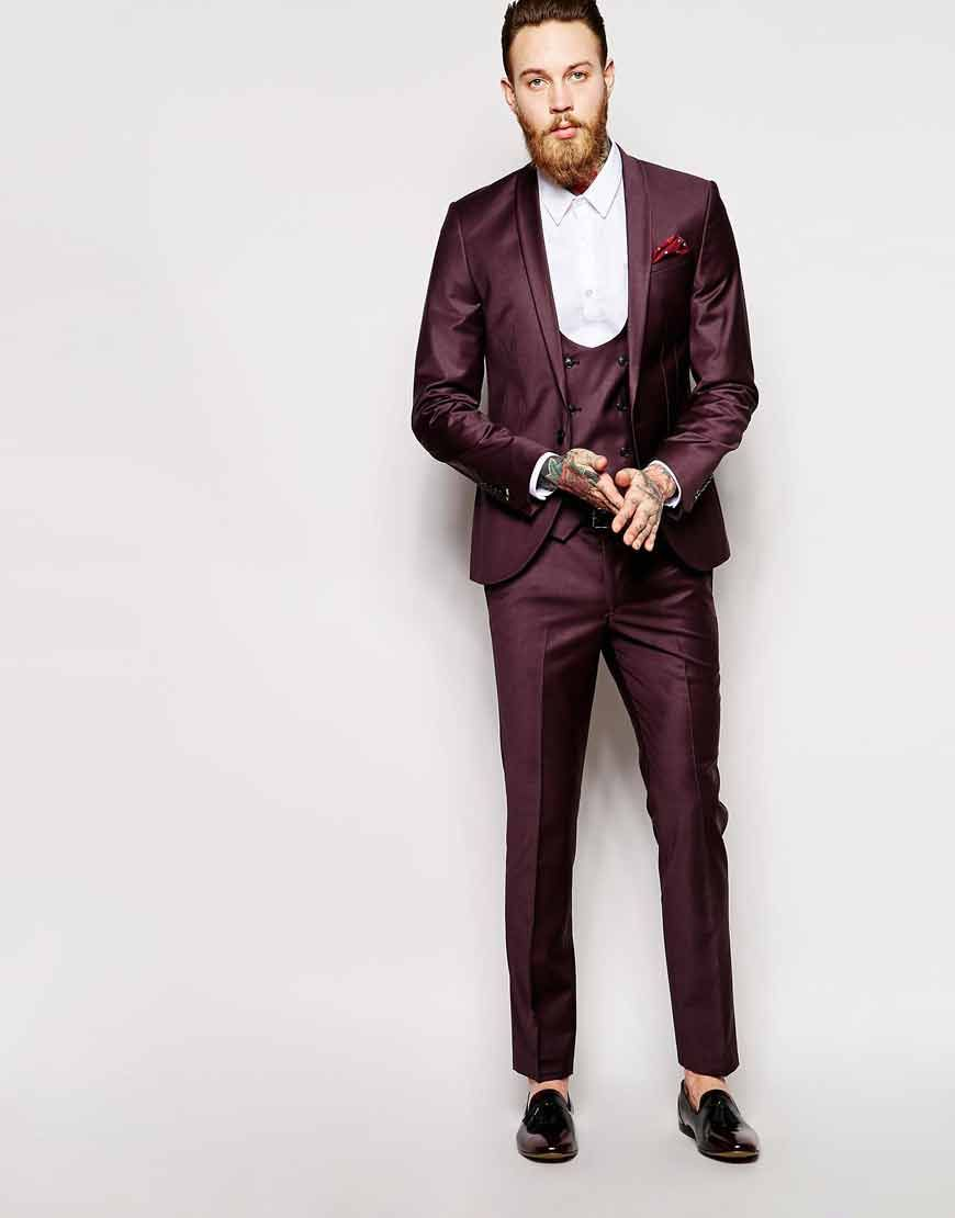 Image 1 of Noose & Monkey Burgundy Suit Jacket With Shawl Lapel In ...