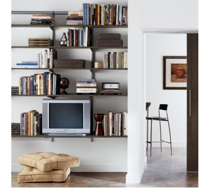 Create A Sophisticated Functional Storage And Display Solution In Your Family Or Living Room Wi Living Room Shelves Wall Mounted Shelves Living Room Furniture