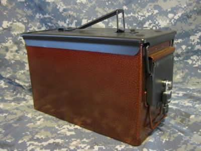 AMMO CAN HANDGUN CASE, VERY COOL, DOUBLE GUN, .50 AMMO BOX, .50 CAL, BURNT ORANGE WITH BLACK TOP #gunsammo