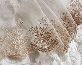 gold lace, golden embroidered lace trim, baroque gauze lace, luxury lace, scollaped lace, vintage lace, antique lace, bridal lace