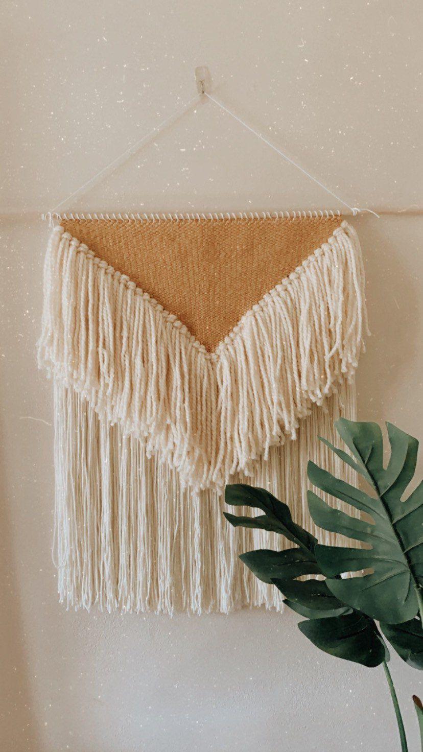 Excited to share this item from my #etsy shop: Large Mustard Fringe Weaving #wovenwallart #boho #bohostyle #bohemian #weaving #woventapestry #modernweaving #weavingwallart #fiberart