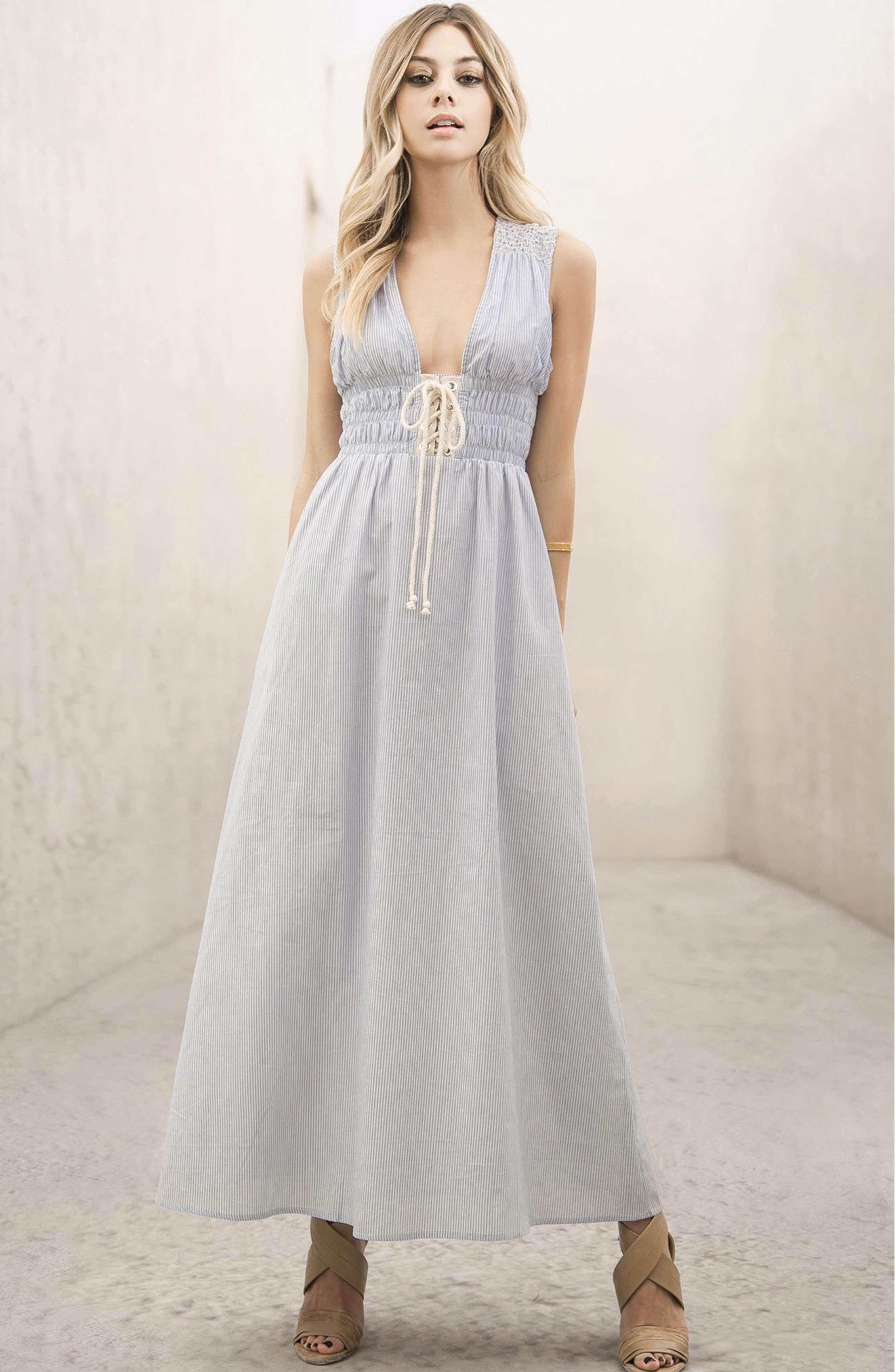 3053642faa67 MOON RIVER Stripe Lace-Up Maxi Dress