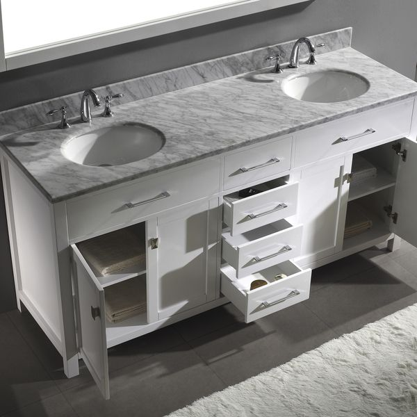 Virtu USA Caroline 72 Inch Double Sink Bathroom Vanity Set More