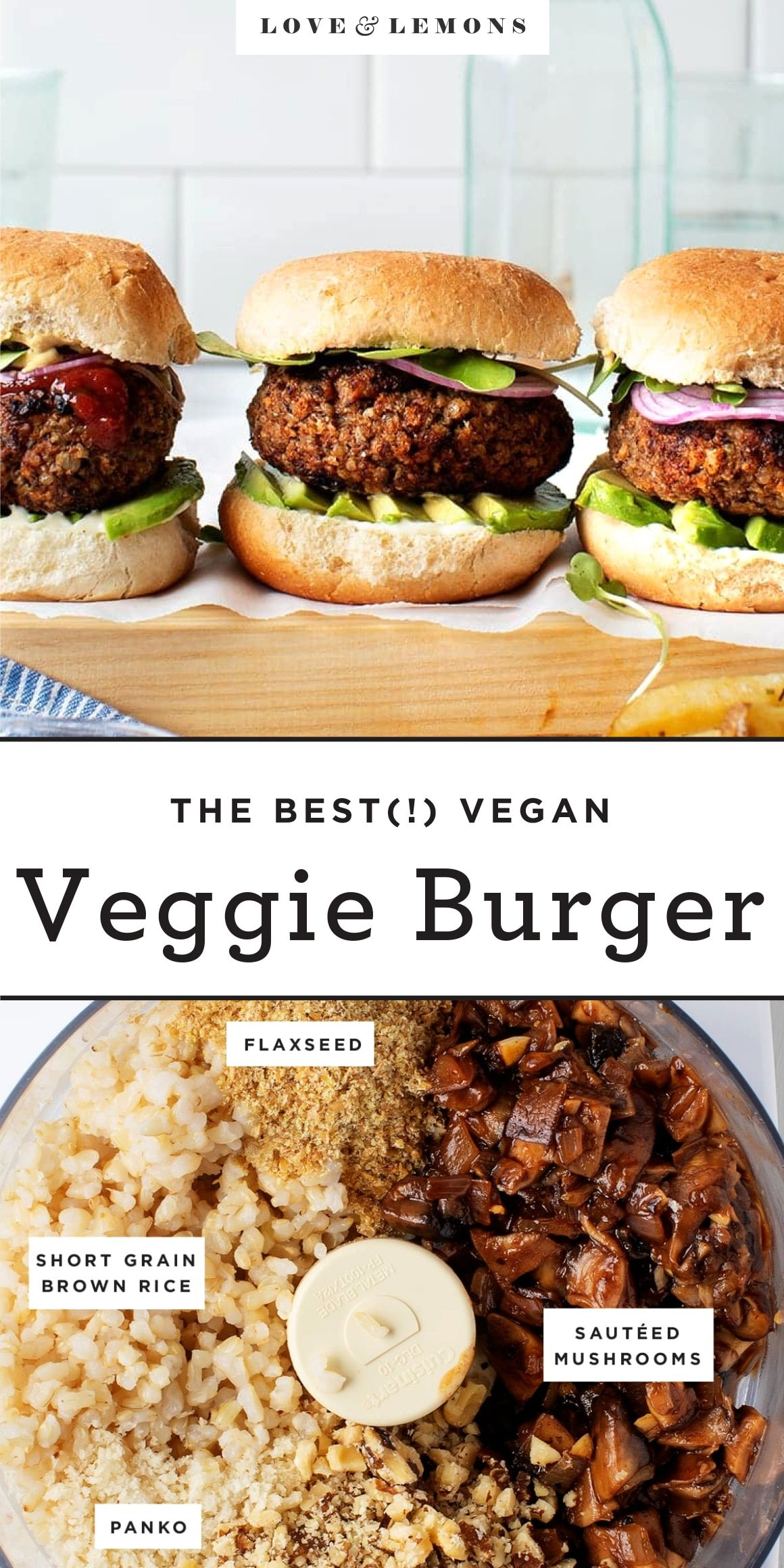 The BEST Veggie Burger EVER! They're tangy, smoky, savory, and have a hearty texture from walnuts and mushrooms. Vegan, grillable, and a hit with my meat-eating family!   Love and Lemons #vegan #veggieburger #vegetarian #healthyrecipes #mushrooms