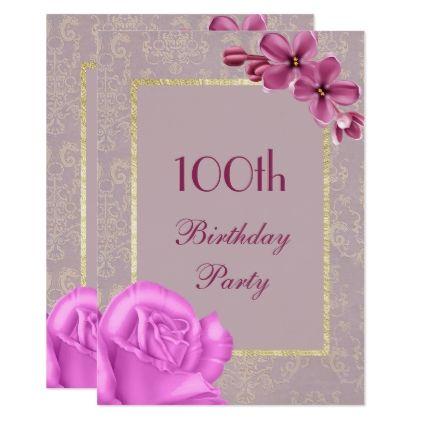 Chic Floral \ Elegant Damask 100th Birthday Card - pattern sample - birthday card sample