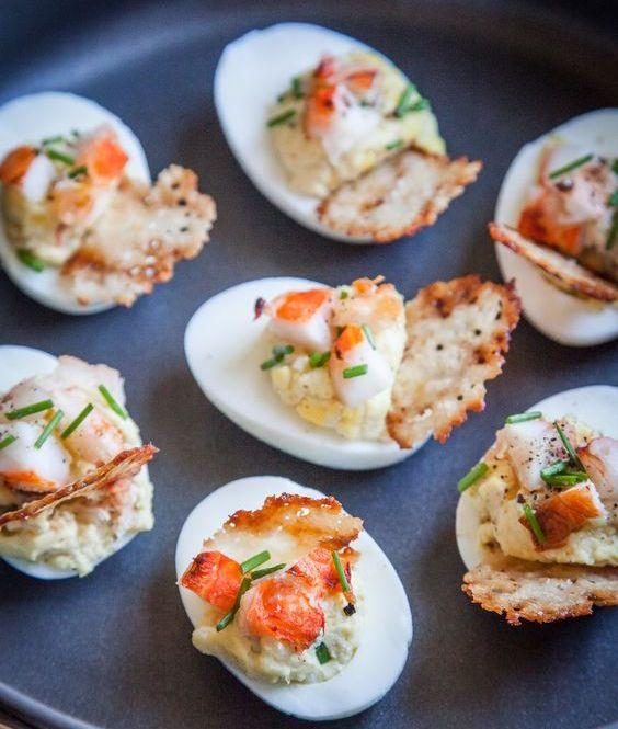 Lobster & Chives Deviled Eggs with Truffle Salt & Parmesan Crisp | Close… #deviledeggs