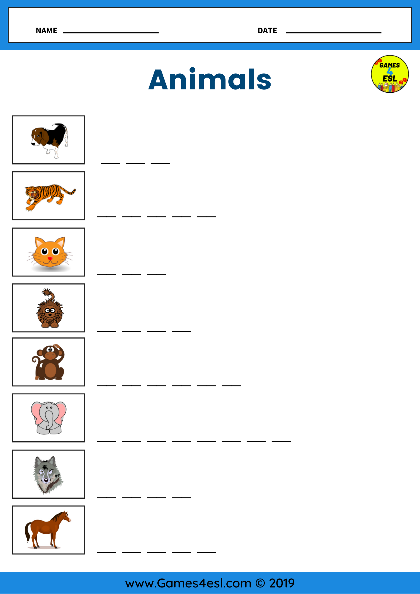 An Animals Vocabulary Worksheet To Practice Writing And