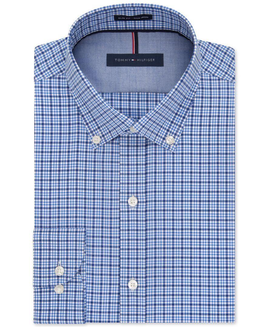 19c447161 Tommy Hilfiger Slim-Fit Non-Iron Bluebird Overlay Check Dress Shirt ...