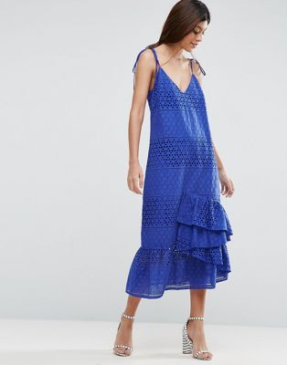 Ruffle Trim Smock Trapeze Midi Dress - Black Asos Low Shipping For Sale Low Cost For Sale Discount Cheap Online Cheap Reliable 27bps16Nf