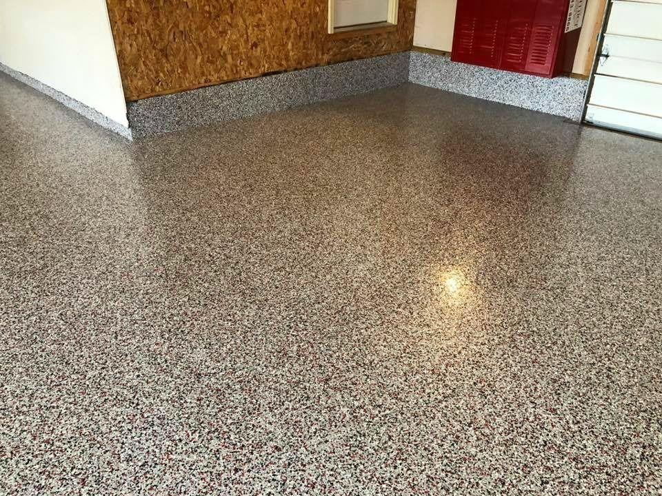 Epoxy Flake Garage Floor In Buckeye Blend Lima Oh Concrete Decor Findlay Ohio Concrete