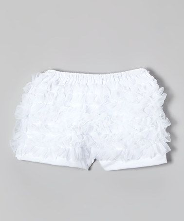 Look what I found on #zulily! White Ruffle Shorts - Infant, Toddler & Girls #zulilyfinds