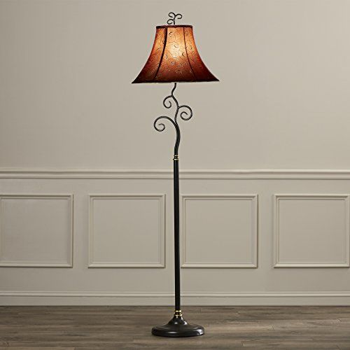 61inch Tall Contemporary Floor Lamp With Red Gold Bell Fabric Shade For Living Room Click