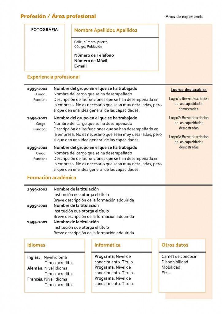 curriculum-vitae-modelo4a-naranja-724x1024 | escritorio | Pinterest ...