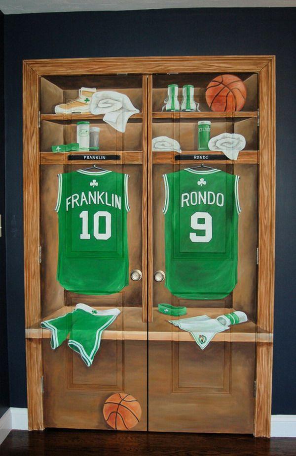 Custom Basketball Locker Bedroom Doors Murals & Custom Basketball Locker Bedroom Doors Murals | Boys Room ... Pezcame.Com