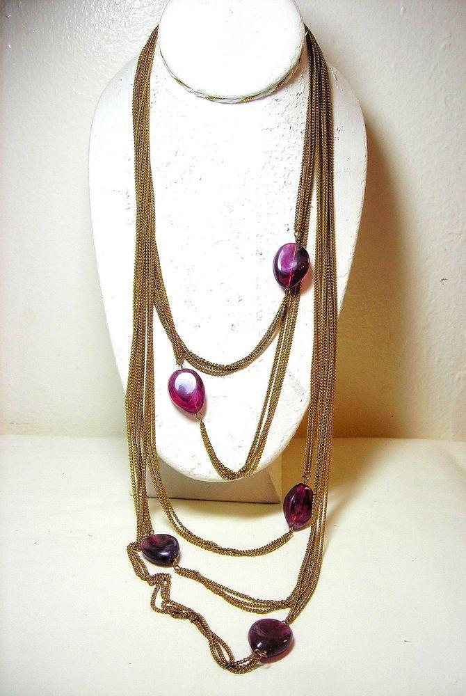 Amrita Singh Necklace Chain Bead Gold Tone Purple #AmritaSingh #Chain