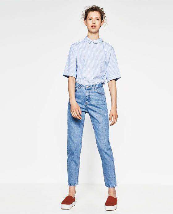 799f9cf9 PANTALÓN DENIM MOM FIT | simple | Jeans, Mom jeans, Jeans dress