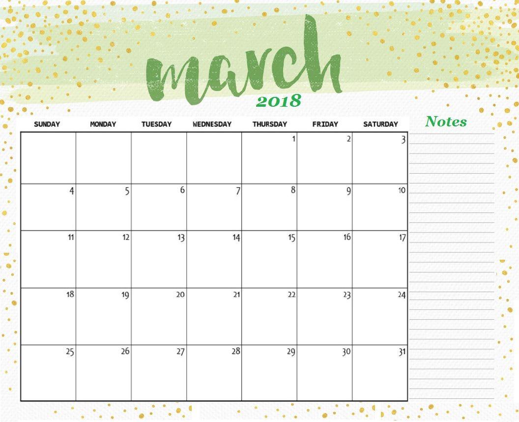 Free Printable March 2018 Desk Calendar