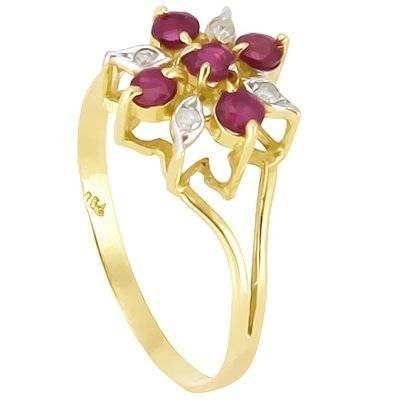 Anel chuveiro em ouro 18k com diamantes e rubis