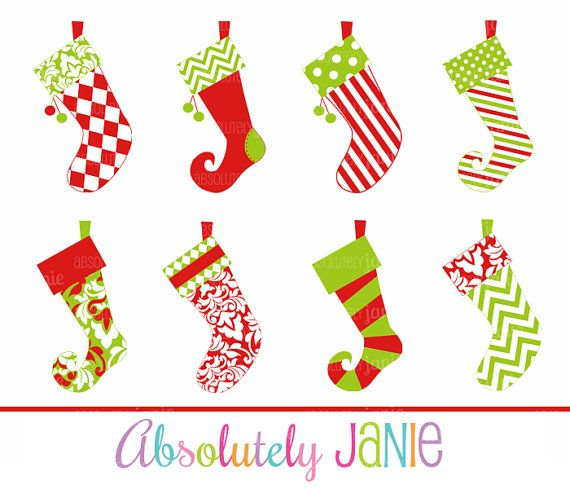 whimsical stocking template  Christmas Stockings Clipart Whimsical Holiday by ...