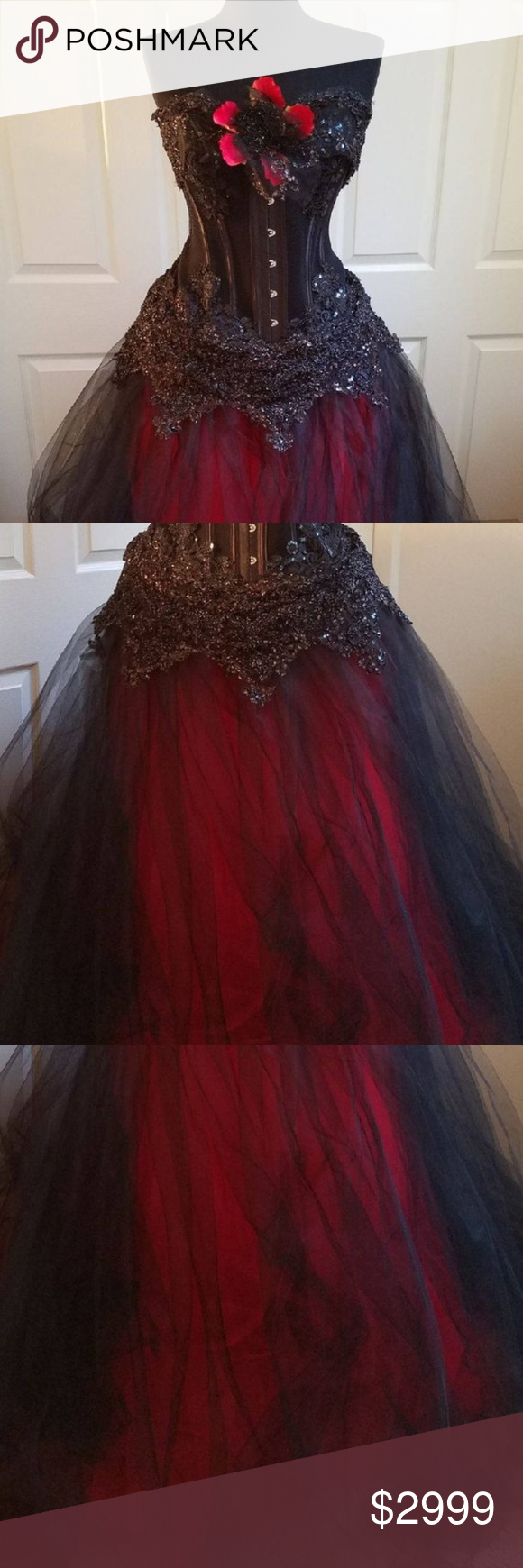 Lilith Goth Twilight Black Red Corset Ballgown Set Ball Gowns Goth Prom Dress Red Corset [ 1740 x 580 Pixel ]