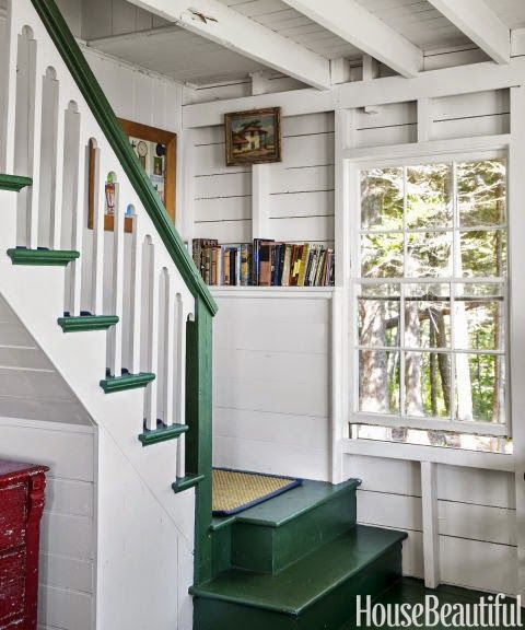 80 Awesome Modern Farmhouse Staircase Decor Ideas: Vintage Farmhouse: Maine Cottage- Use A Color On Stairs
