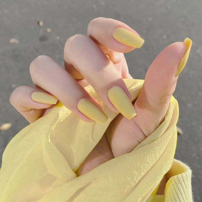 Bephora Handmade Yellow Pure Style Design Pure Color Frosted Ballerina Nail Press On Nails Fake Nails False Nails Glue Nails Bridal Nails 24 In 2021 Yellow Nails Ballerina Nails Acrylic Nails Coffin Short