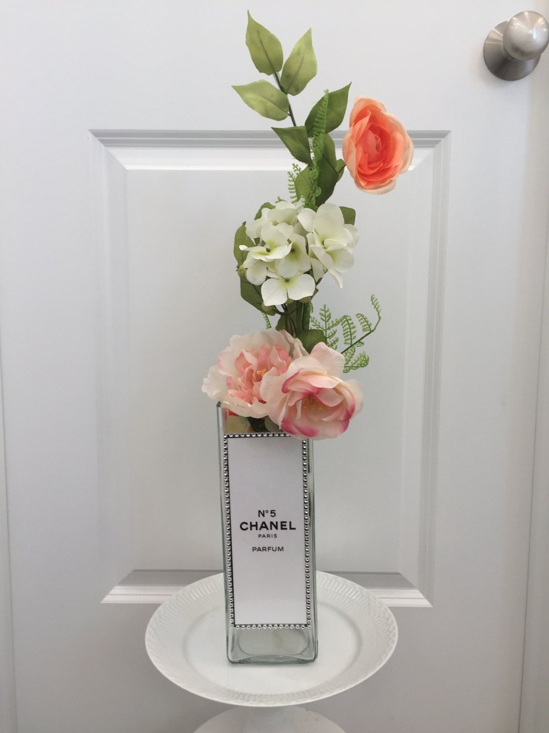 Chanel Inspired Tall Glass Flower Vase Free Floral Bouquet by  PrintcessCharming on Etsy