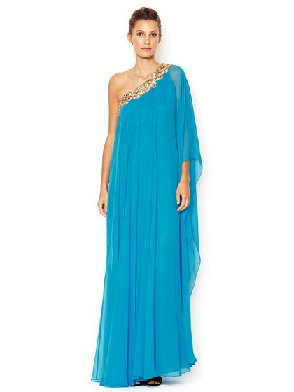 Silk Chiffon Embellished One Shoulder Caftan Gown