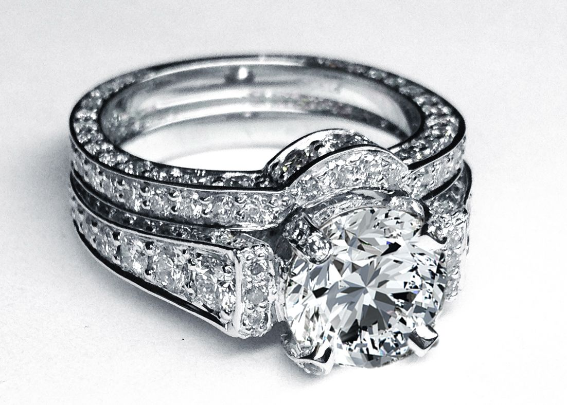 Large Round Diamond Cathedral Graduated pave Engagement Ring in 14K White Gold with Matching