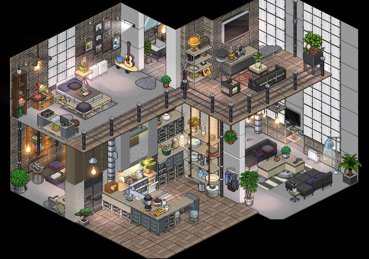 Industrial Habbo Loft Pixel Art Landscape Pixel Art Design Fantasy House