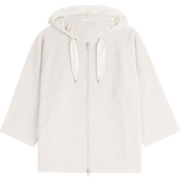 Brunello Cucinelli Cashmere Hoodie (21 445 SEK) ❤ liked on Polyvore featuring tops, hoodies, beige, zip front hooded sweatshirt, 3/4 length sleeve tops, hooded sweatshirt, sweatshirt hoodies and hooded pullover