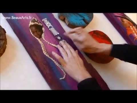 Collages Et Peinture Sur Planches De Bois